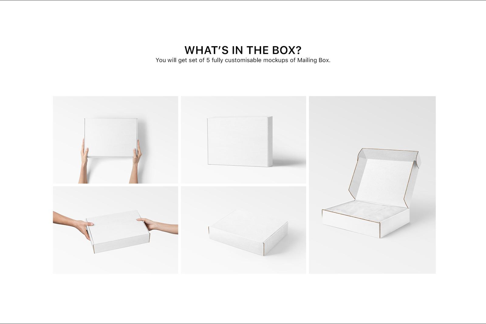多角度快递包装纸盒外观设计展示样机 Mailing Box Mockups Set插图(12)