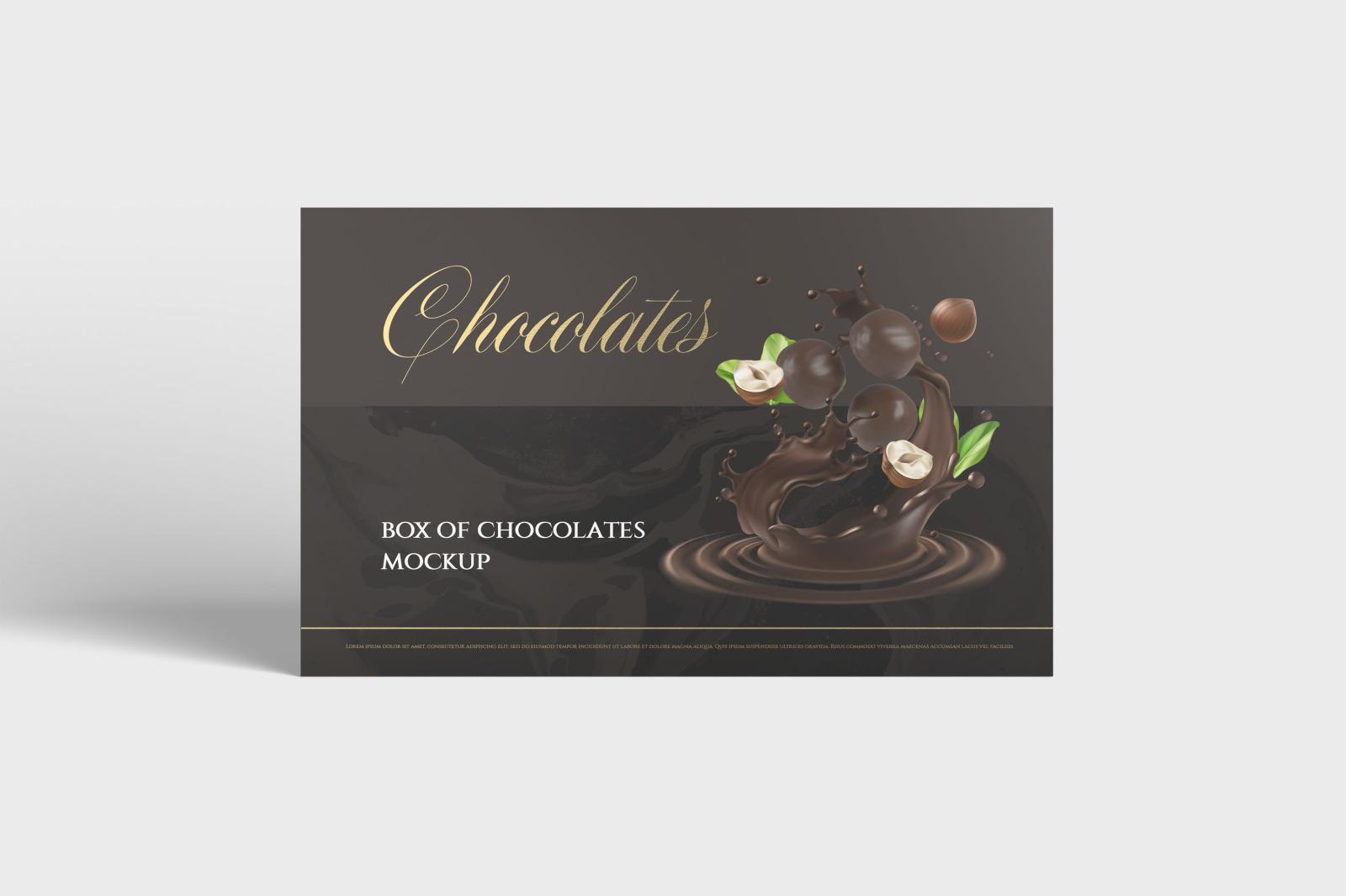 7款金箔效果巧克力包装纸盒设计展示样机 Box Of Chocolates Mockup插图(1)