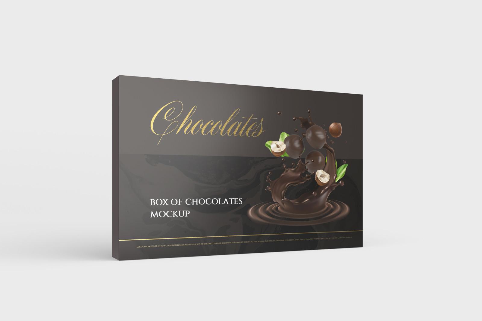 7款金箔效果巧克力包装纸盒设计展示样机 Box Of Chocolates Mockup插图(2)