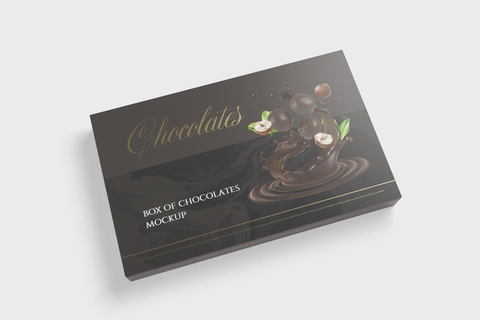 7款金箔效果巧克力包装纸盒设计展示样机 Box Of Chocolates Mockup插图(3)