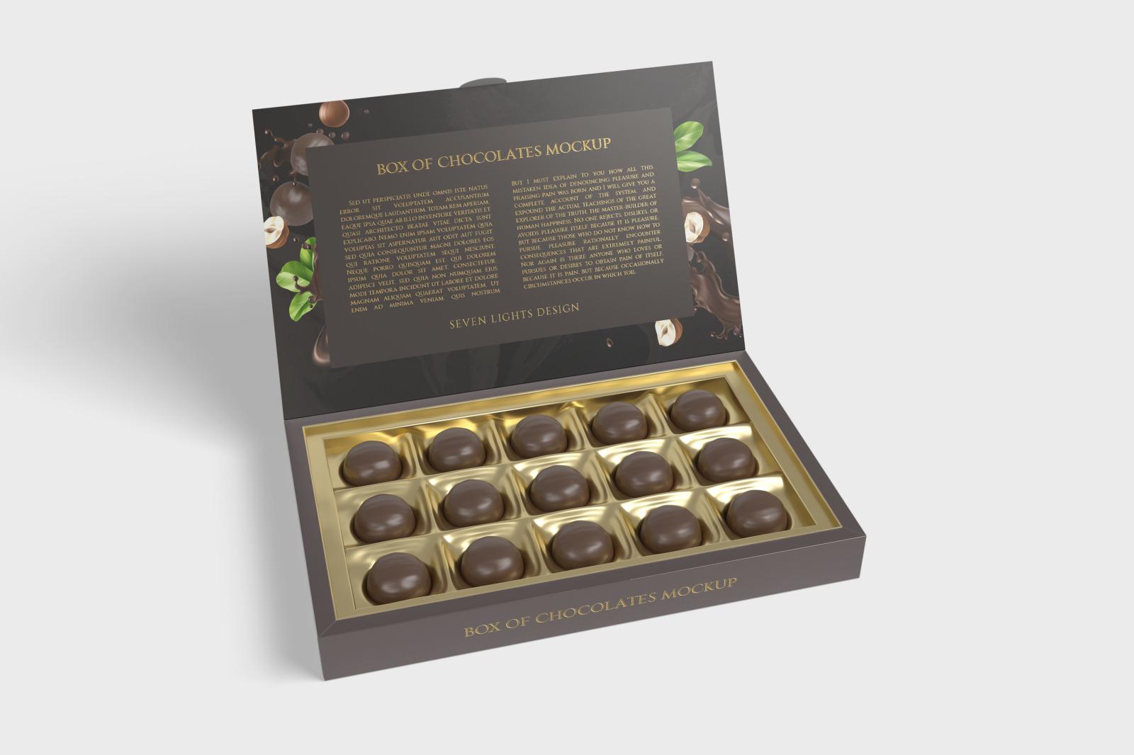 7款金箔效果巧克力包装纸盒设计展示样机 Box Of Chocolates Mockup插图(7)