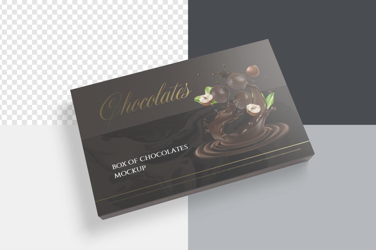 7款金箔效果巧克力包装纸盒设计展示样机 Box Of Chocolates Mockup插图(8)