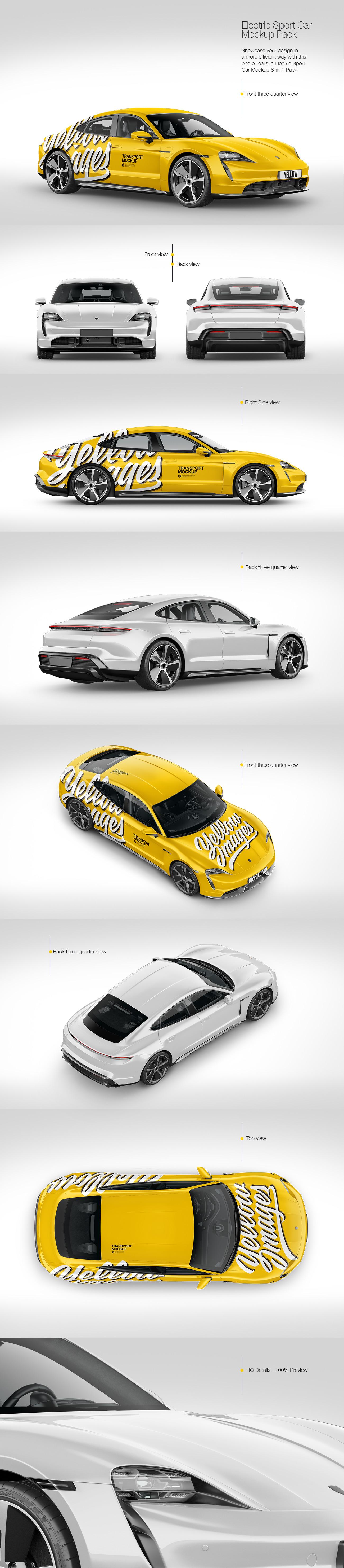 8款电动跑车设计展示样机模板 Electric Sport Car Mockup Pack插图
