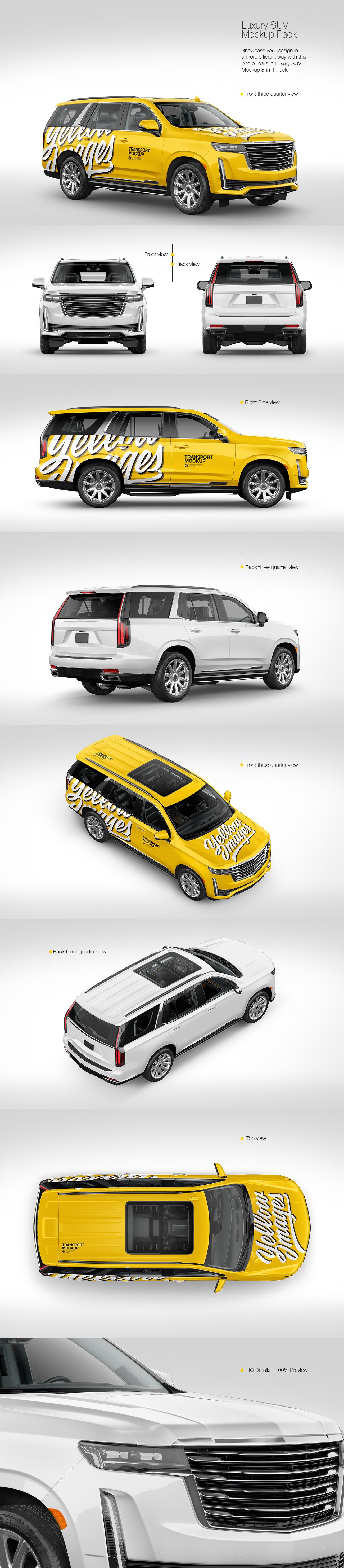 8款豪华SUV商务车设计展示样机模板 Luxury SUV Mockup Pack插图