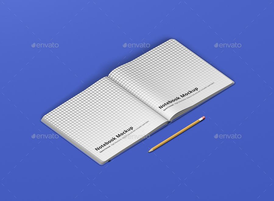 8款正方形笔记本设计展示样机模板 Notebook Mockup Square Format插图(14)