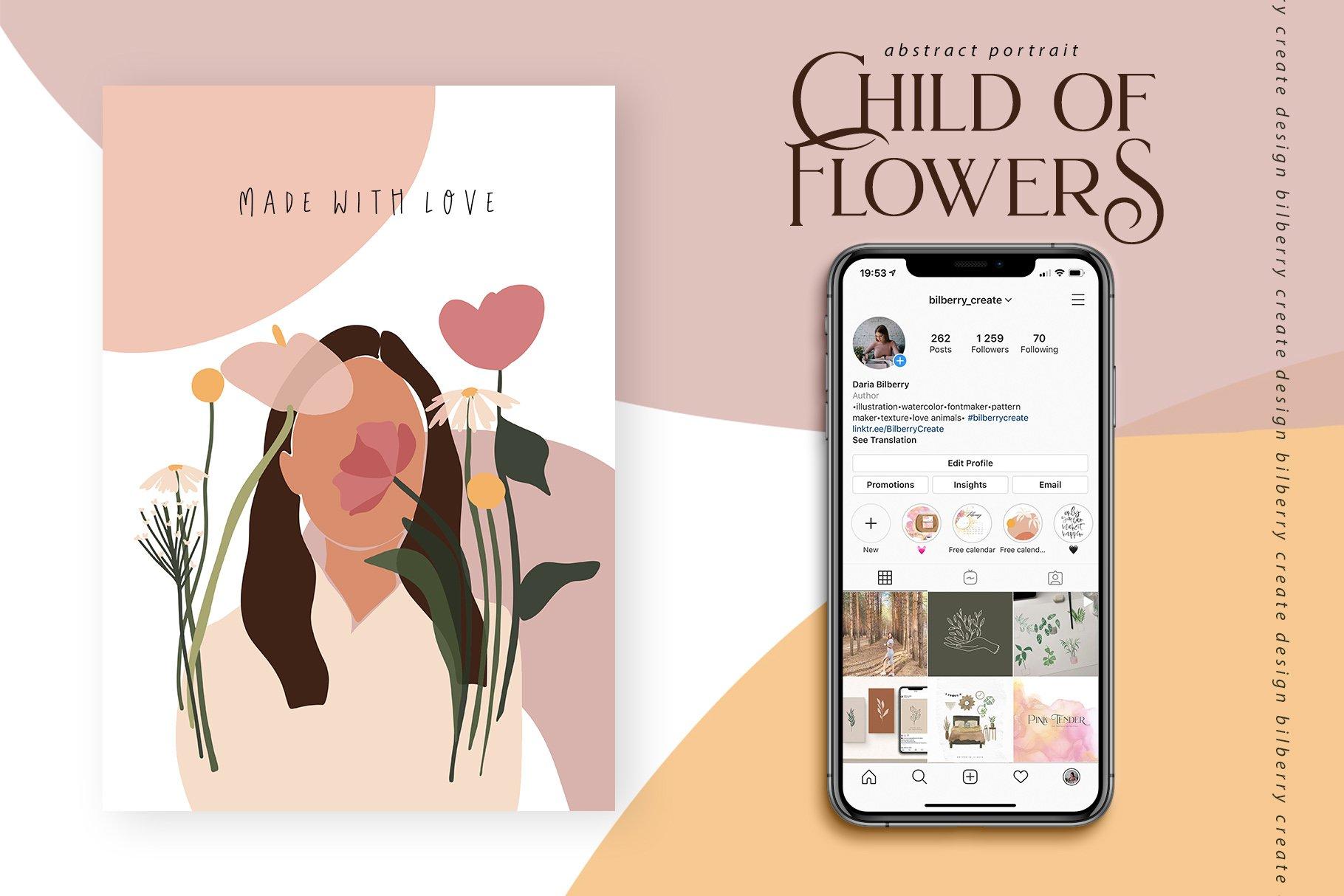 85多个抽象女孩风景形状矢量图案素材 Child Of Flowers Abstract Portrait插图(15)