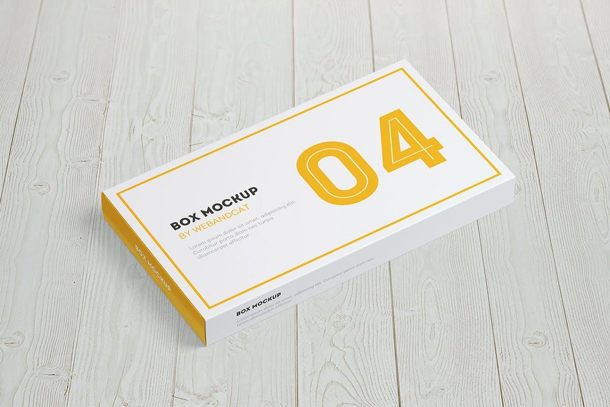 9款平面矩形药片包装盒设计展示样机模板 Package Box Mockup: Flat Rectangle Box插图(15)
