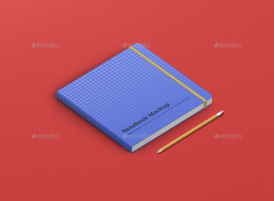 8款正方形笔记本设计展示样机模板 Notebook Mockup Square Format插图(16)
