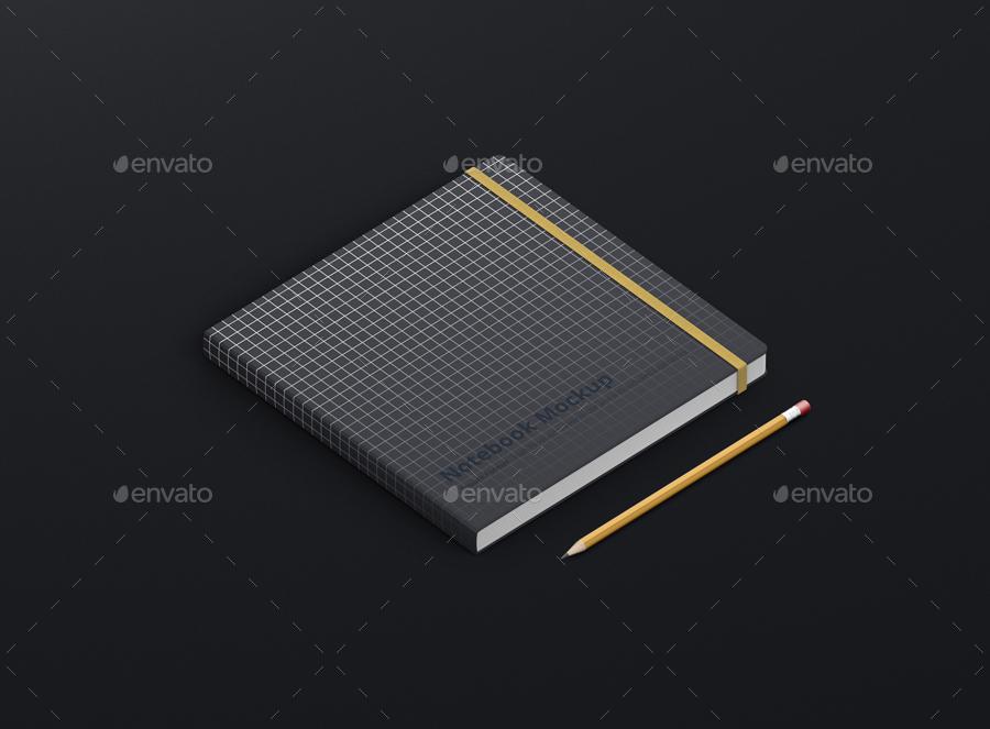 8款正方形笔记本设计展示样机模板 Notebook Mockup Square Format插图(17)