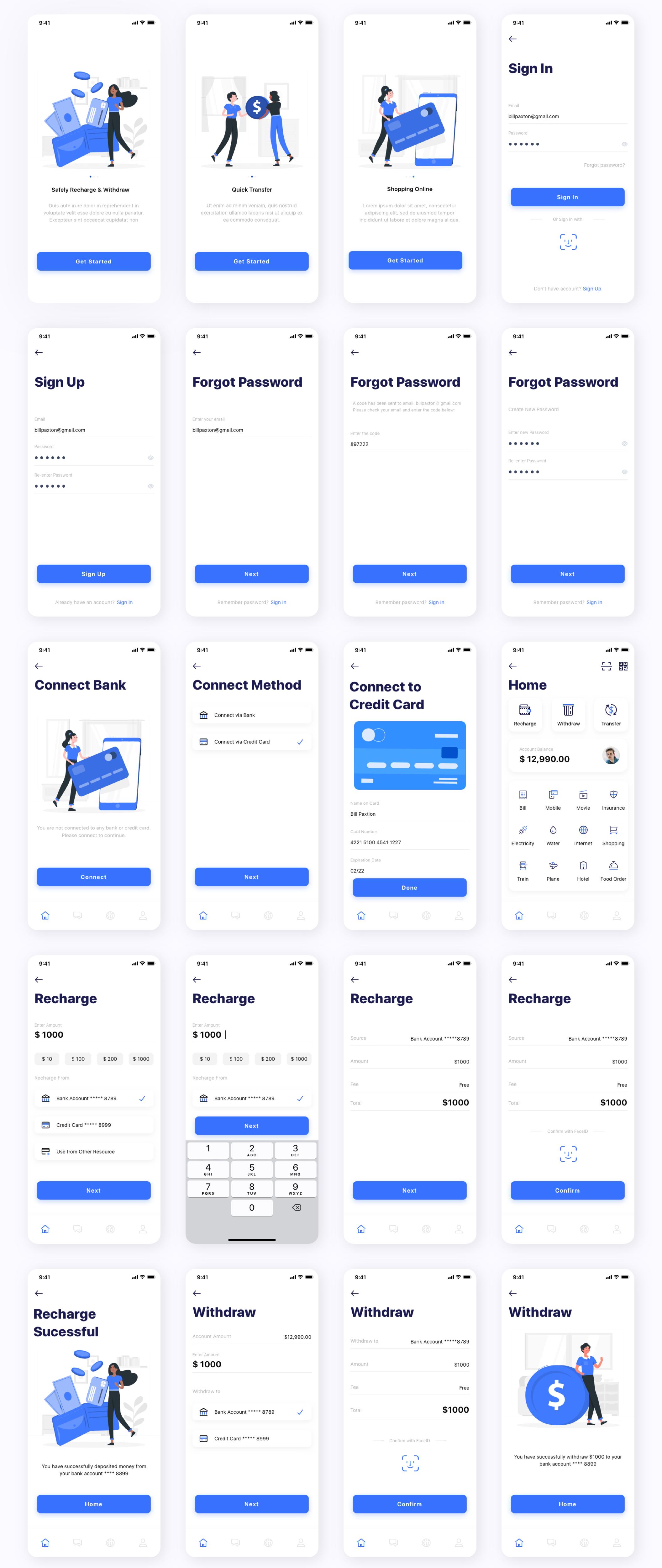 银行金融电子钱包应用APP UI套件 Kard | e-Wallet App Ui Kit插图(6)