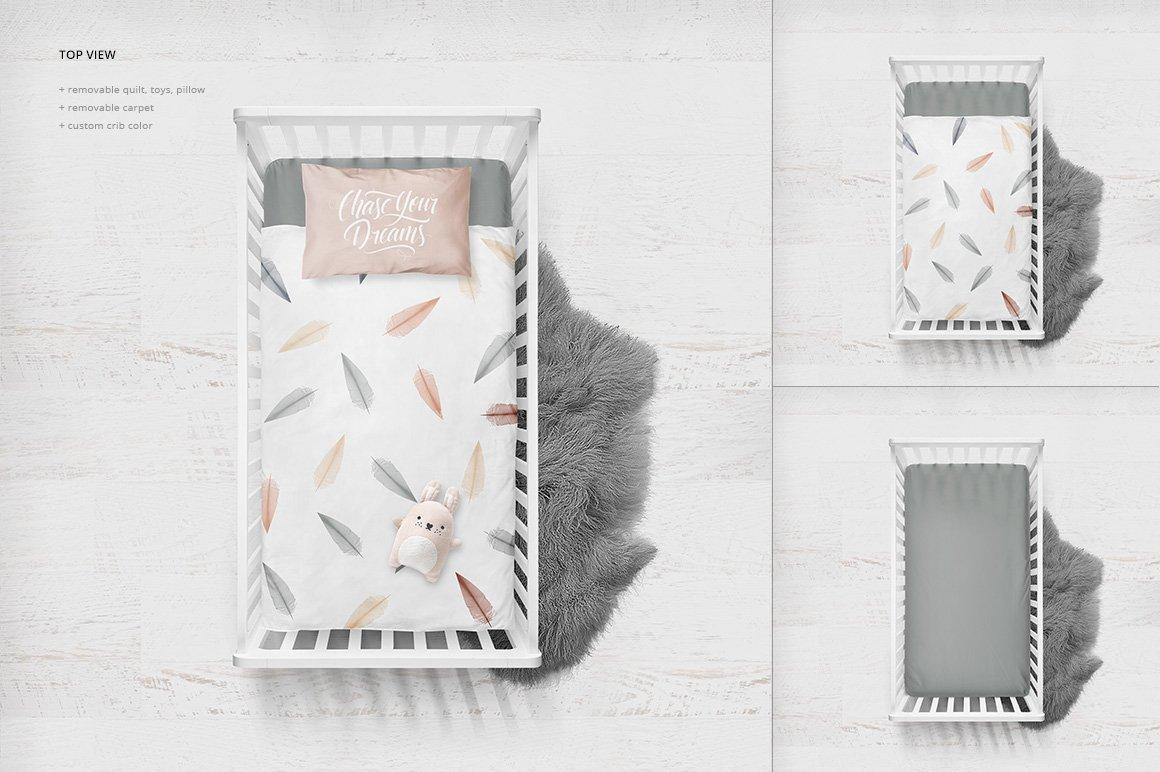 婴儿床床上用品场景样机水彩 Crib Bedding Mockup插图(1)