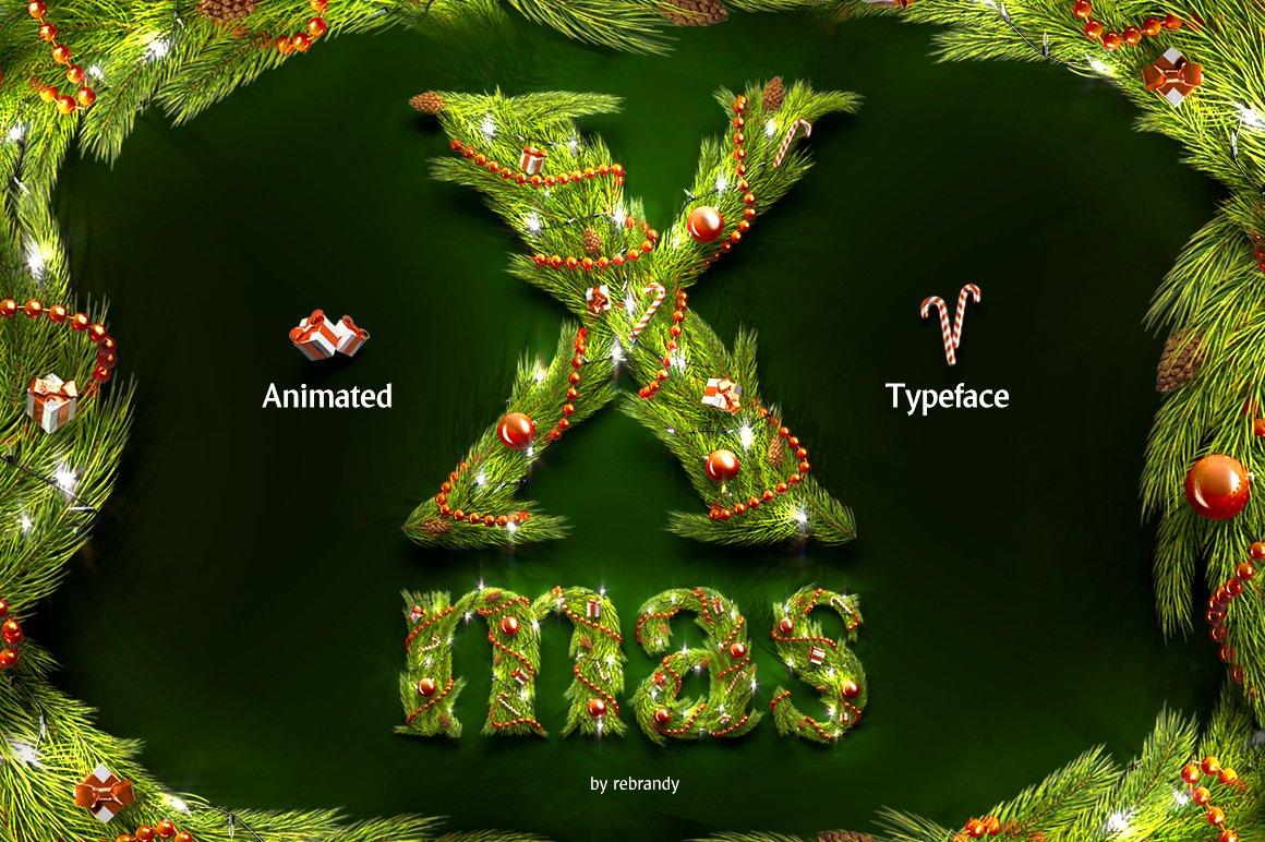 62款圣诞节主题字母数字设计动态展示PSD样机模板 Christmas Animated Typeface插图