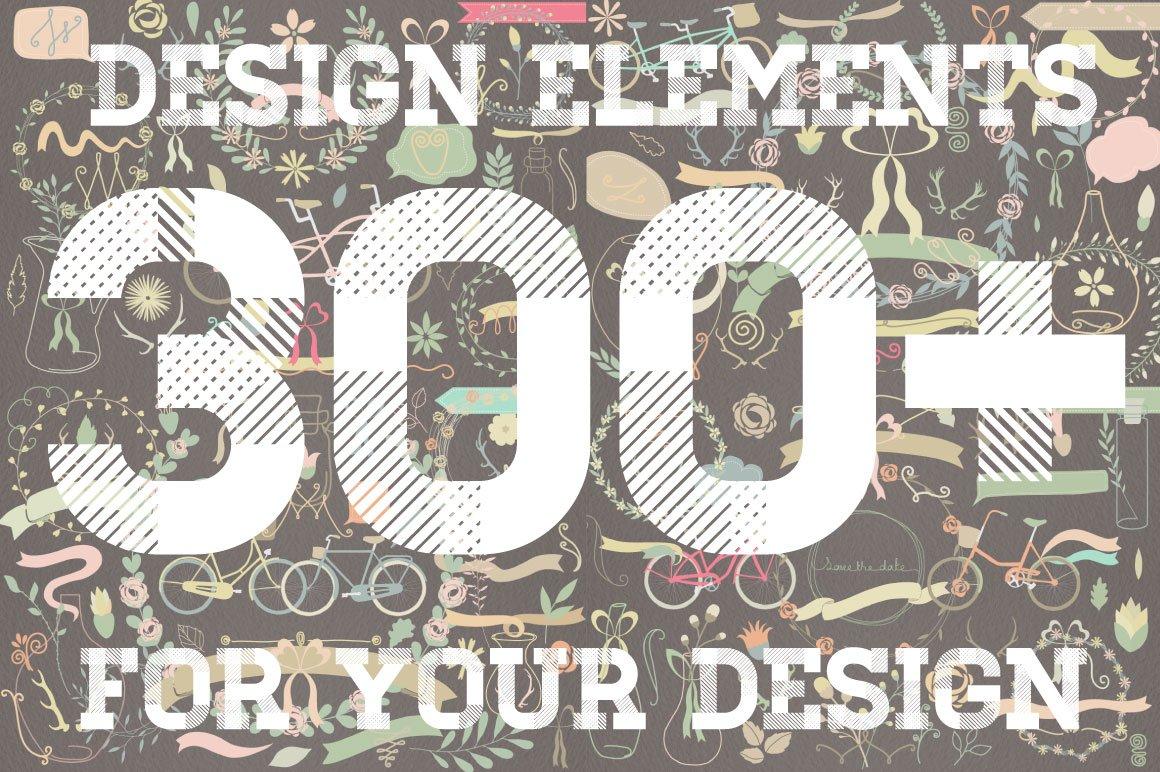 300多个手绘装饰图案矢量素材合集 Design Elements Big Set插图