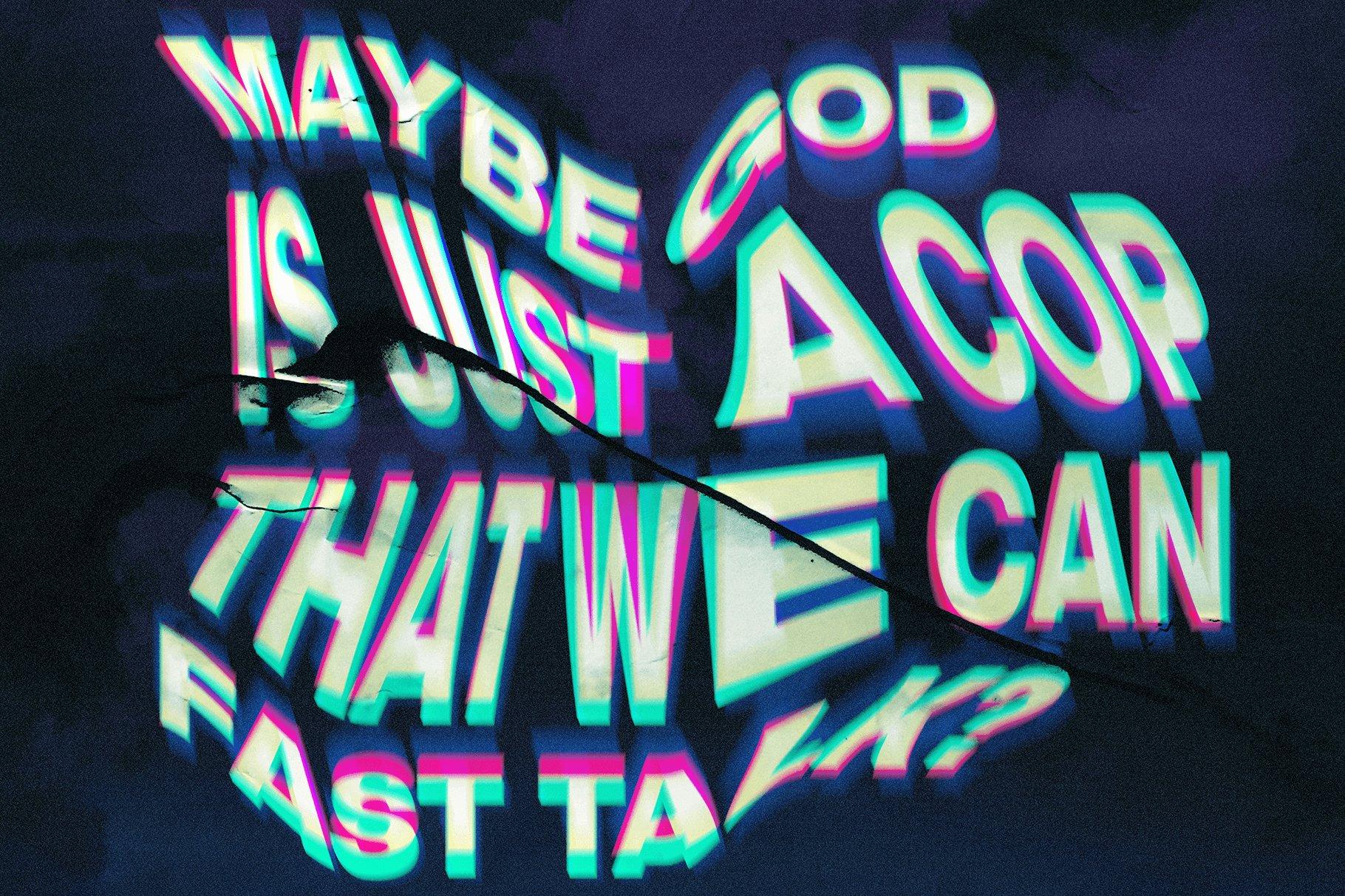 潮流炫酷抽象艺术失真故障扭曲海报标题特效字体样式模板 Melted – Trippy Text Distortions插图1