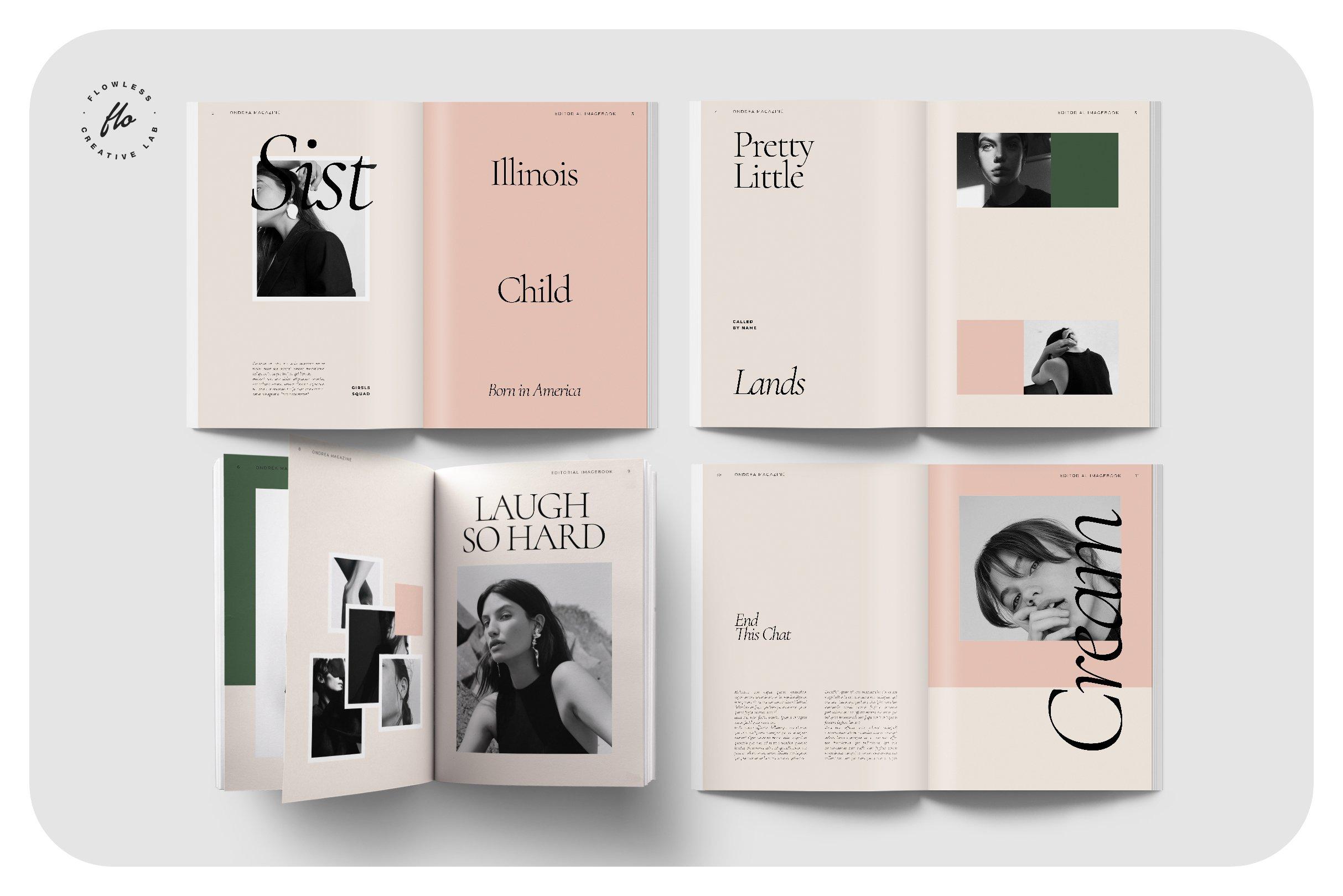 时尚服装设计作品集INDD画册模板 ONDREA Editorial Imagebook插图(1)