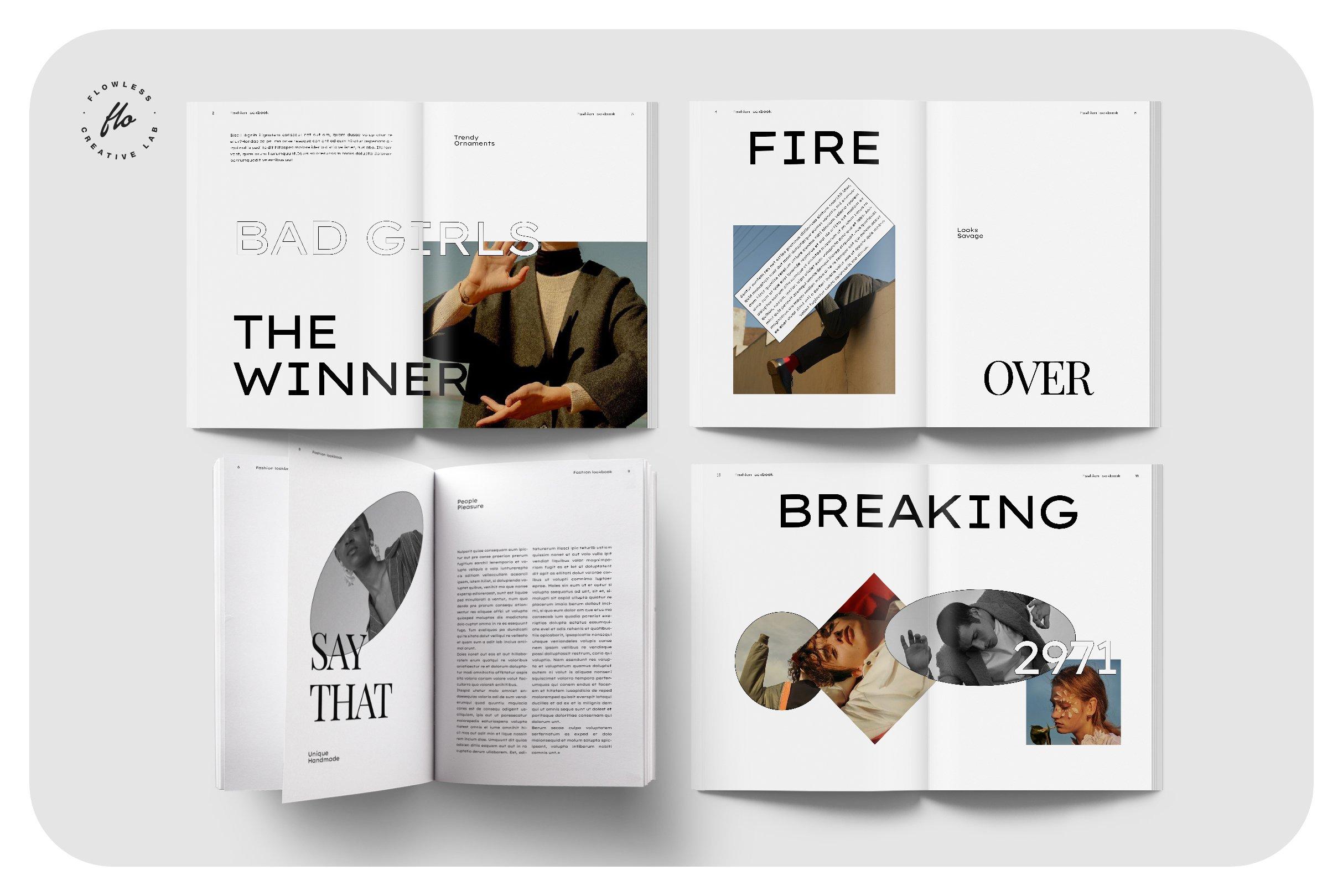 极简服装造型设计INDD画册模板 SOFT TOUCH Fashion Lookbook插图(1)