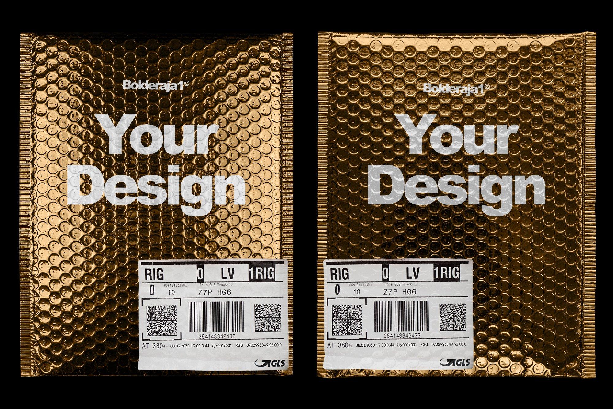 潮流金属铝箔气泡防震邮寄包装袋设计智能贴图样机模板 Gold Plastic Bag Mockup插图(1)