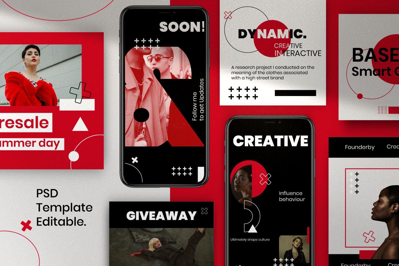 时尚潮流品牌推广新媒体海报设计PSD模板 Creator – Dynamic Social Media Brand插图