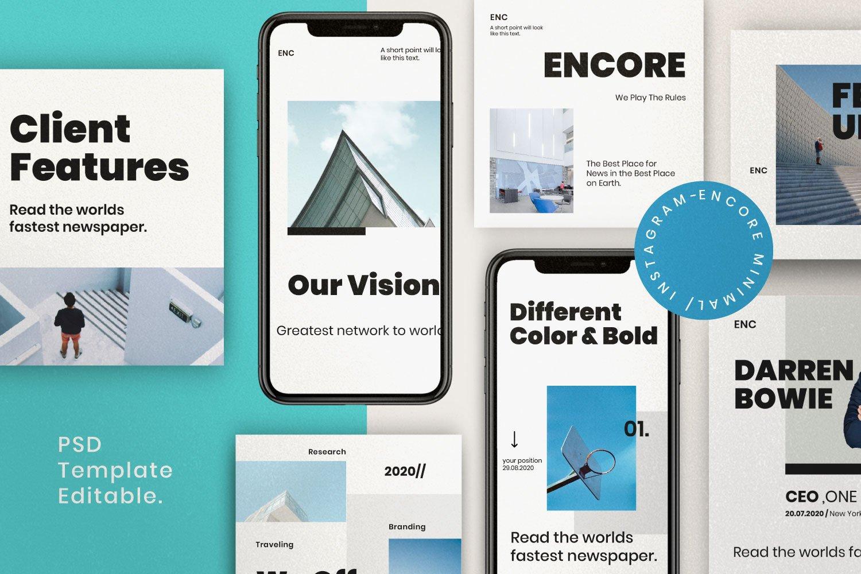 时尚简约城市摄影推广社交新媒体设计模板 ENCORE – Minimal Business Instagram插图(2)