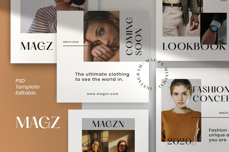 时尚服装品牌摄影推广新媒体海报设计PSD模板 MAGZ – Fashion Brand Social Media插图(1)