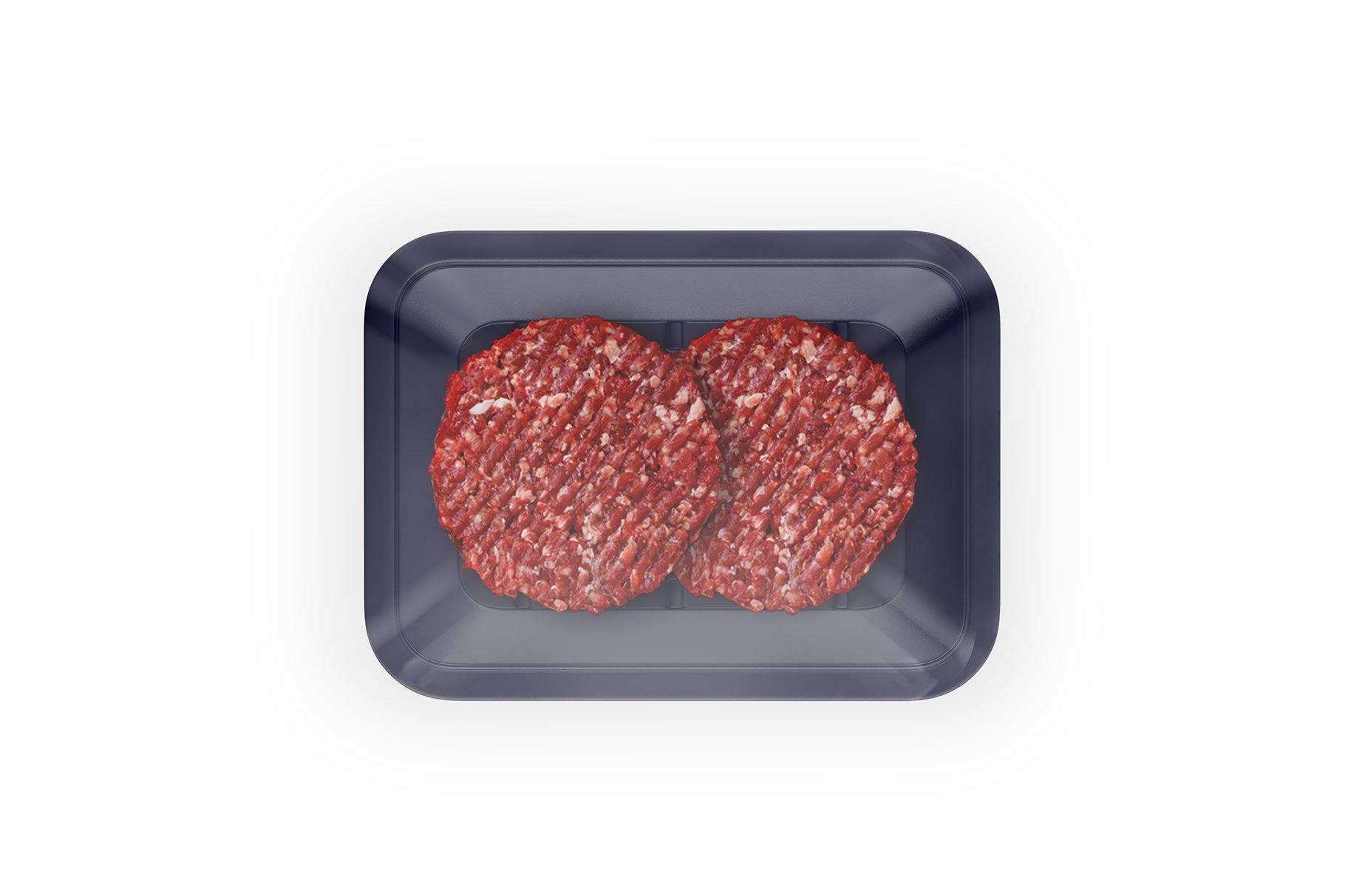 有机牛肉饼托盘设计展示样机 Organic Beef Cutlets Mockup插图(1)