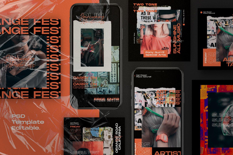 现代潮流撕纸效果品牌推广新媒体海报设计模板 Orange Country – Social Media Pack插图(1)