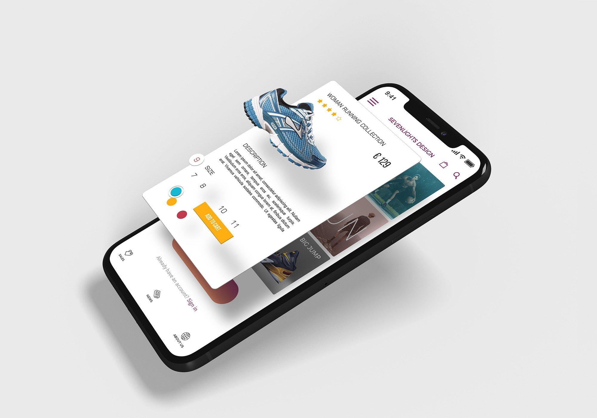 APP应用设计iPhone X屏幕演示样机模板 iPhone X Multilayer Mockup Set插图(1)