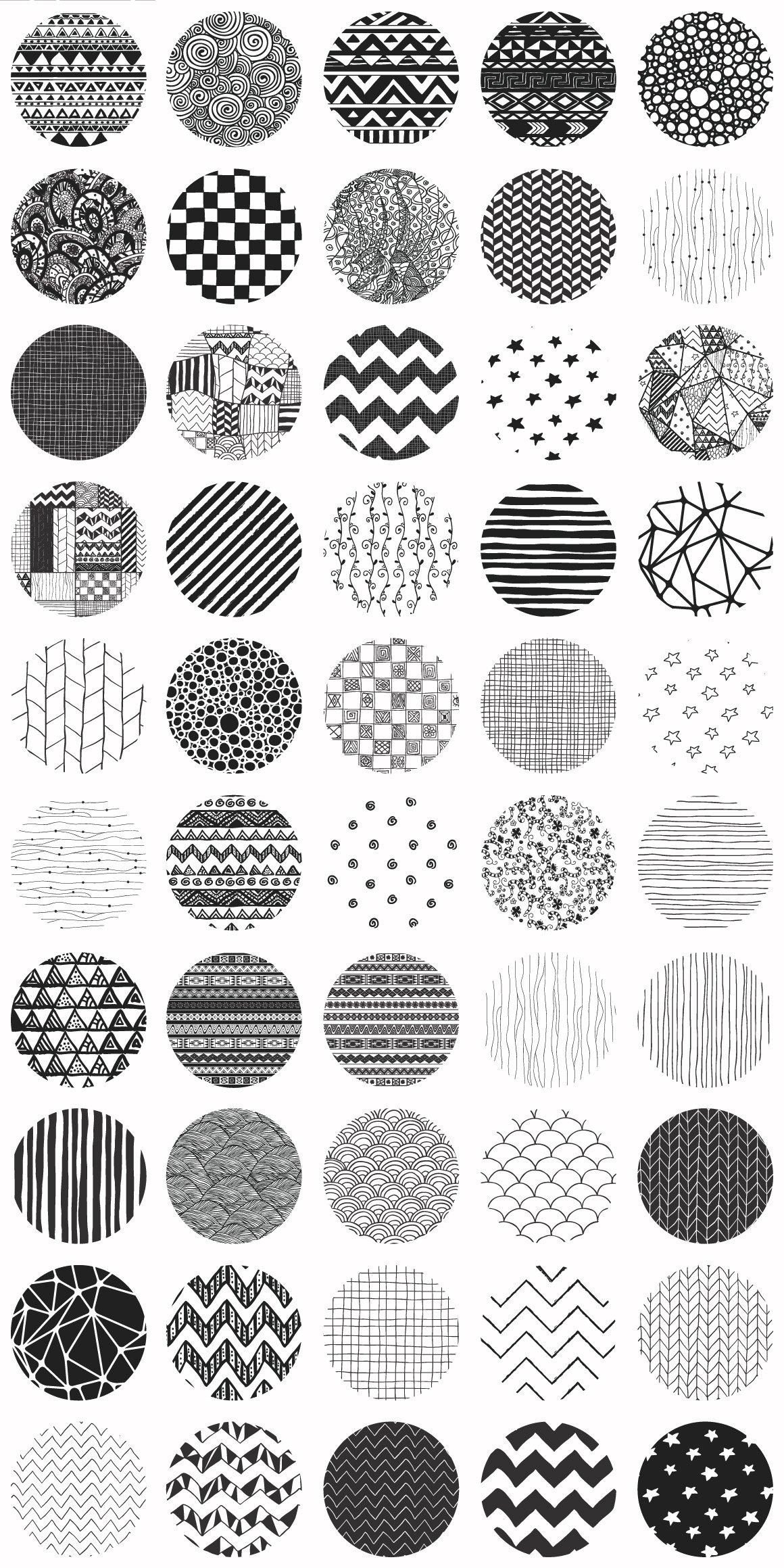 50款可爱黑色手绘涂鸦无缝隙背景图案 50 Hand Drawn Patterns插图(1)