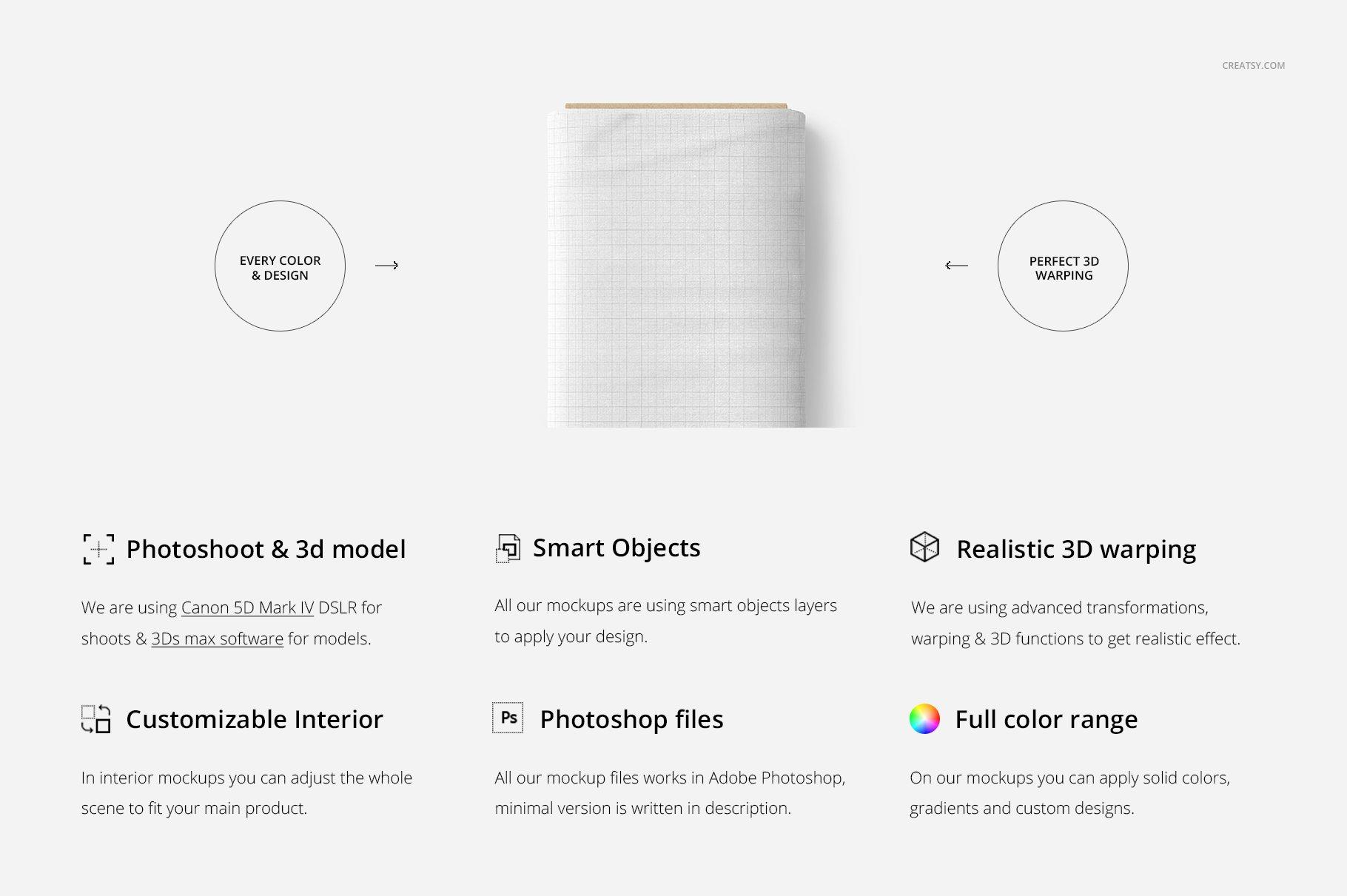 卷状织物布料印花设计展示样机 Fabric Roll Mockup 03/FF v.6插图(1)