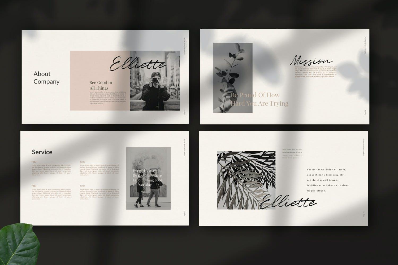 轻柔摄影作品集演示文稿设计模板 Elliette – Powerpoint插图(1)