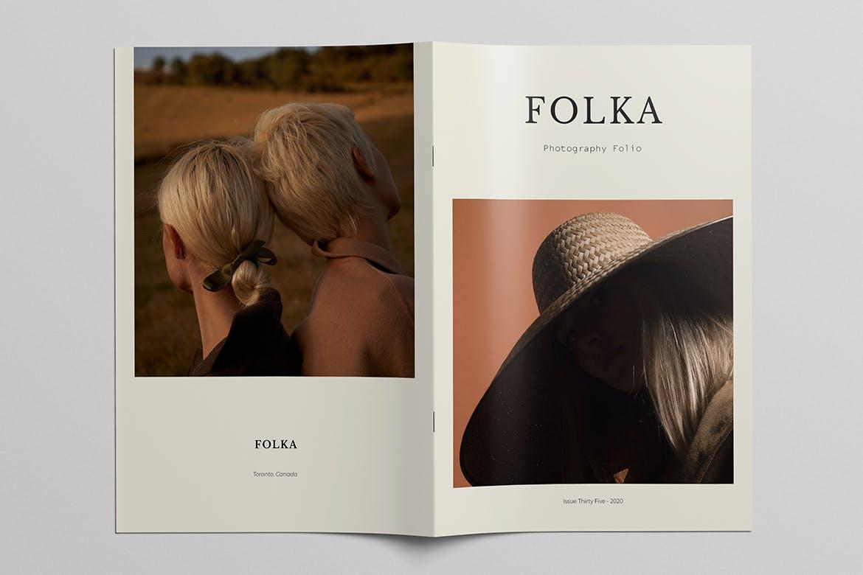 时尚摄影作品集宣传画册设计INDD模板 Photography Portfolio Brochure Template插图(1)