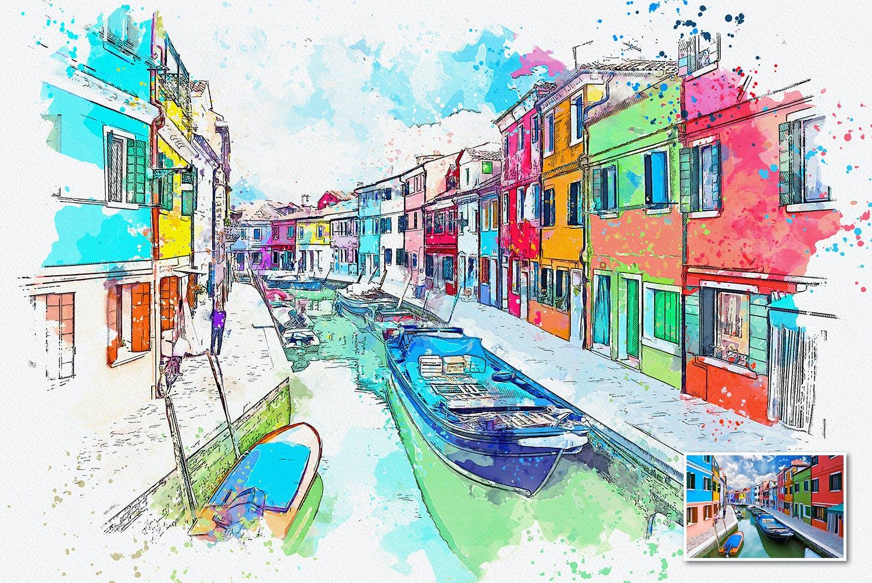 手绘水彩素描效果城市照片后期特效PS动作 Urban Sketch Photoshop Action插图(1)