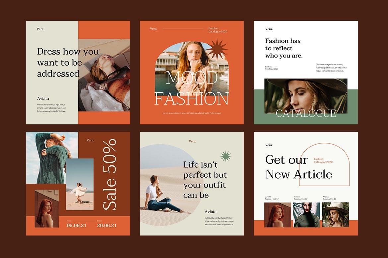 时尚服装品牌故事推广新媒体海报设计PPT模板 Vera – Instagram Post and Stories Powerpoint插图(1)