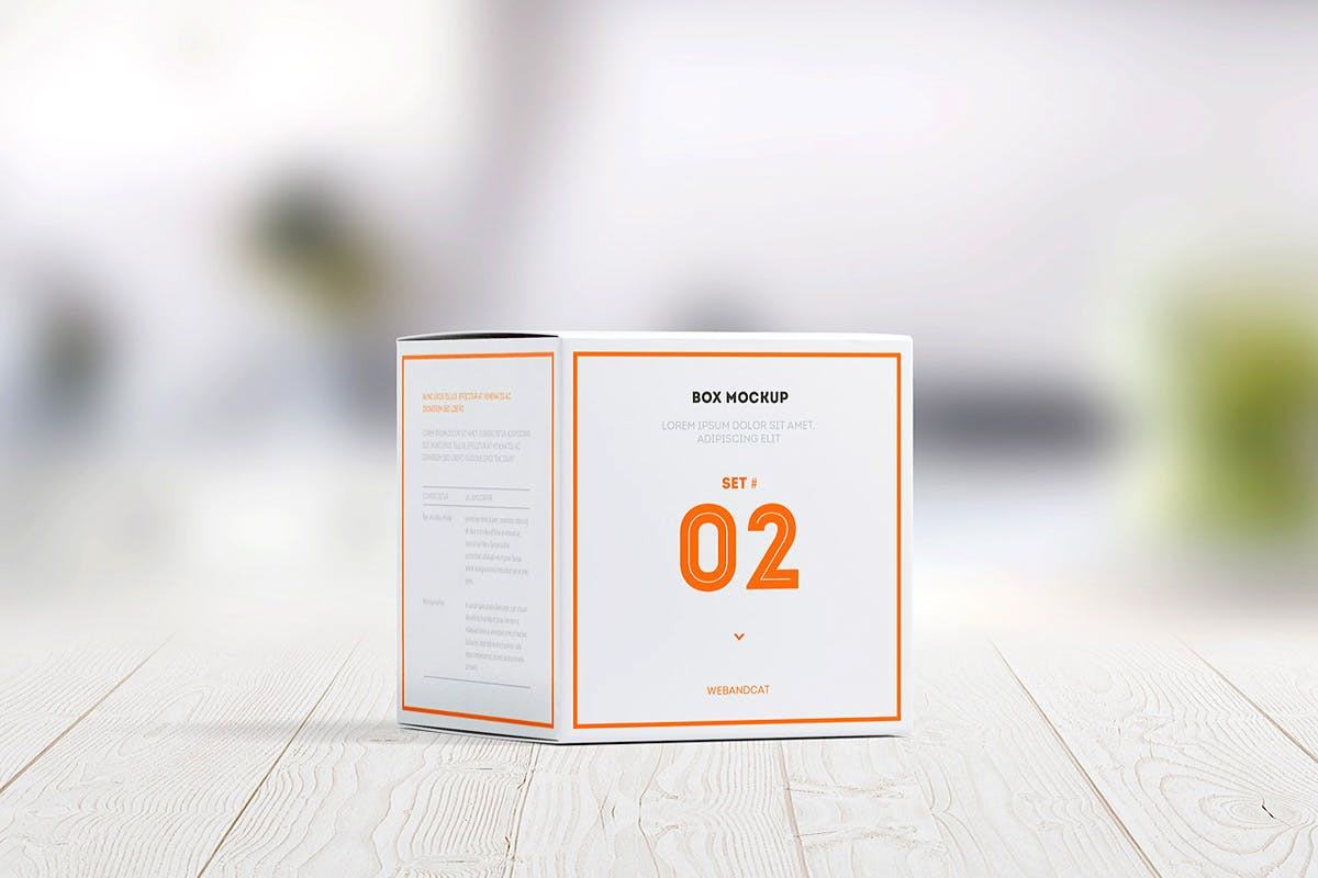 7款方形产品包装纸盒外观设计展示样机模板 Package Box Mockup: Square Box插图(1)