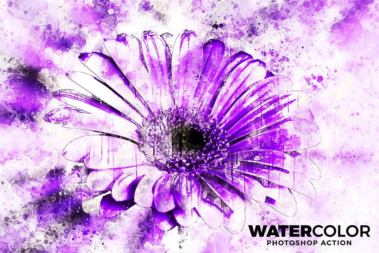 抽象水彩画照片处理效果Photoshop动作 Watercolor Photoshop Action插图(1)