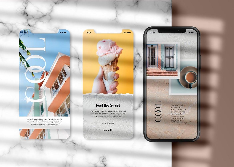 APP应用新媒体海报设计iPhone设计屏幕演示样机模板 Instagram Post & iPhone – Mockup插图(1)