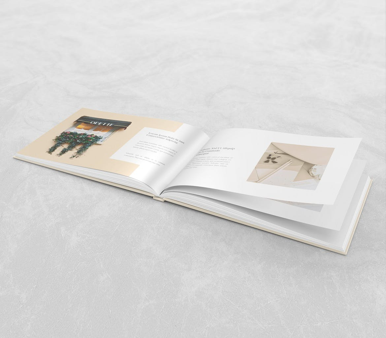 横版精装书画册设计展示样机 Landscape Book – Mockup插图(1)