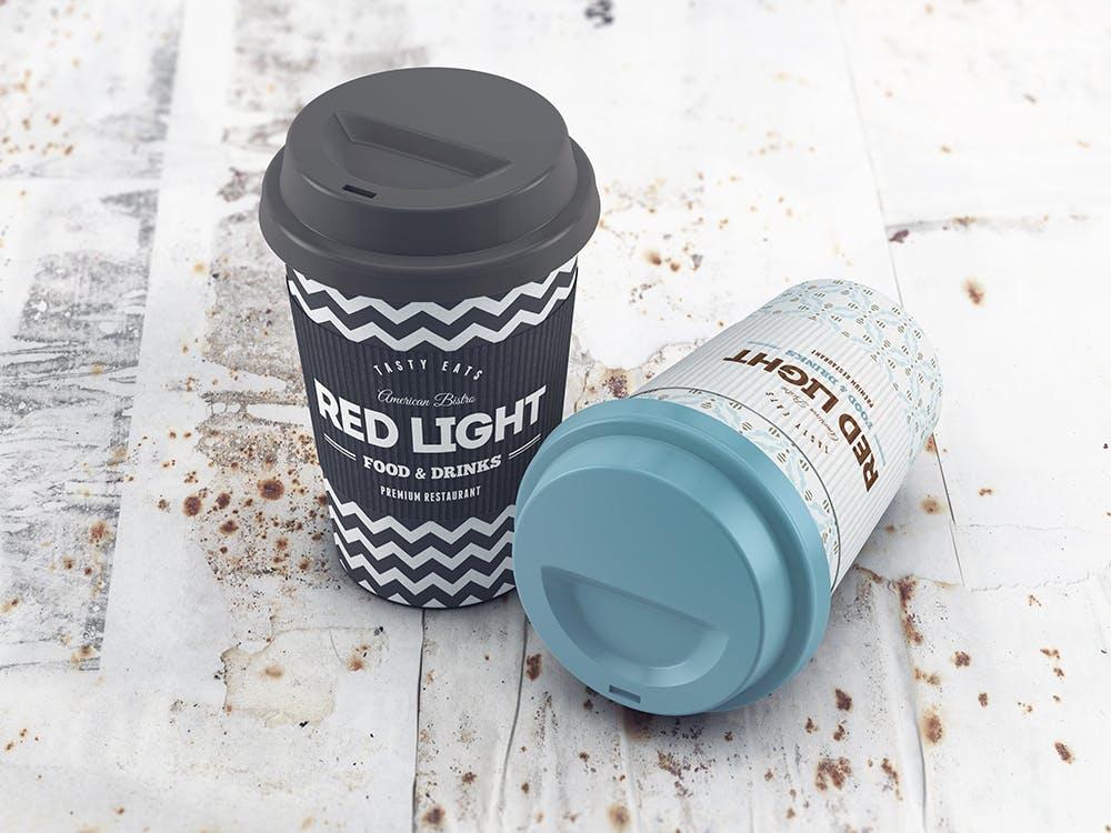 24款多角度一次性外卖咖啡纸杯设计展示样机模板 Coffee Cup MockUp插图(1)