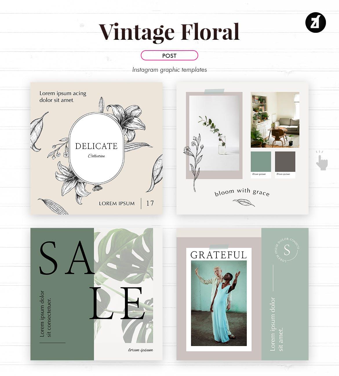 复古花卉品牌推广社交新媒体海报设计PSD模板 Vintage Floral Social Media Graphic Templates插图(1)