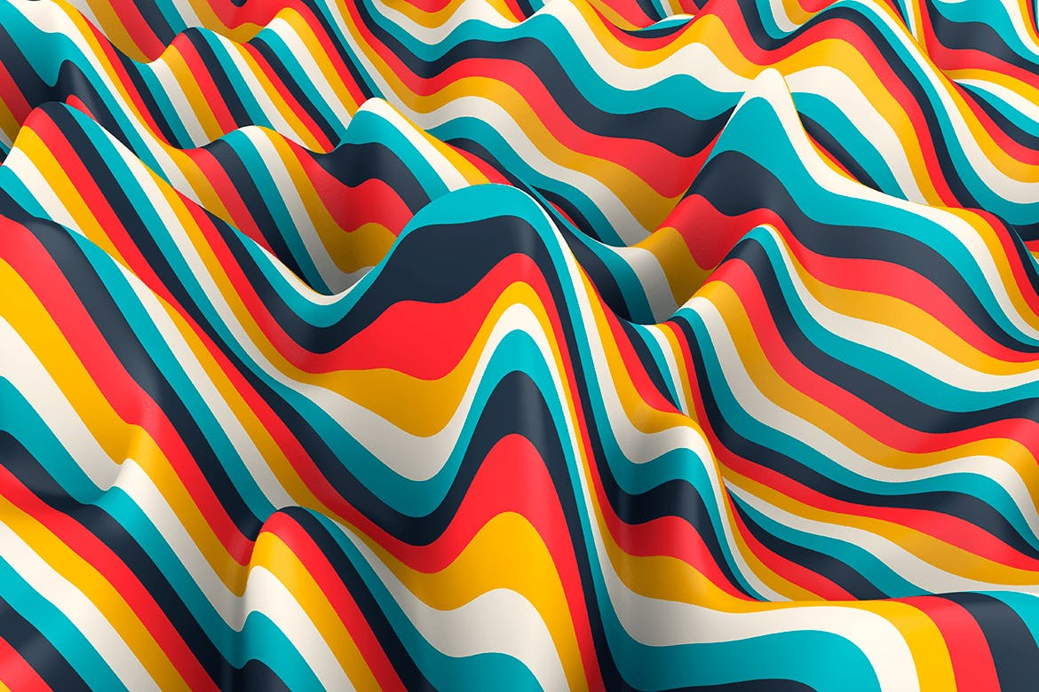 10款高清抽象多彩3D条纹波背景PNG图片素材 Multi-colored Striped Waves Backgrounds插图(1)