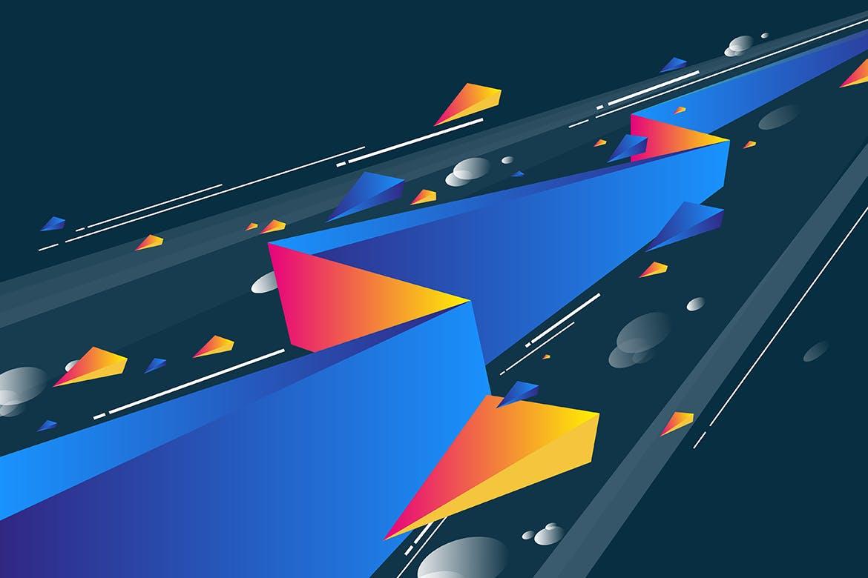 多彩抽象几何闪电矢量背景素材 Geometric Lightning Backgrounds插图(1)