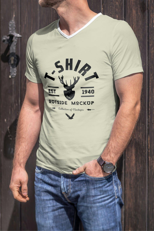 10款男士T恤印花设计展示样机模板 T-Shirt Mockup 5插图(1)