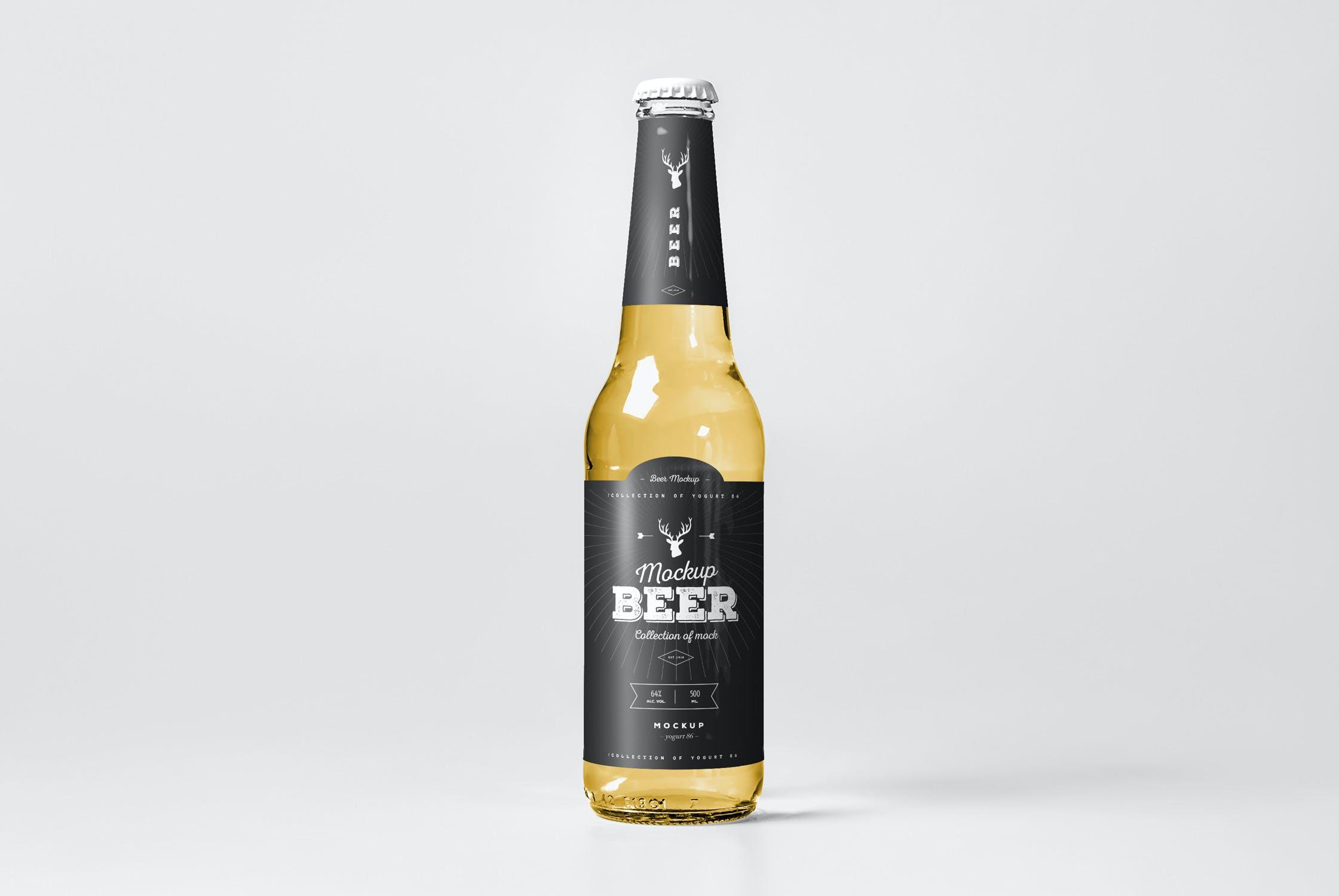 7款啤酒玻璃瓶标签设计展示样机模板 Beer Mockup 5插图(1)