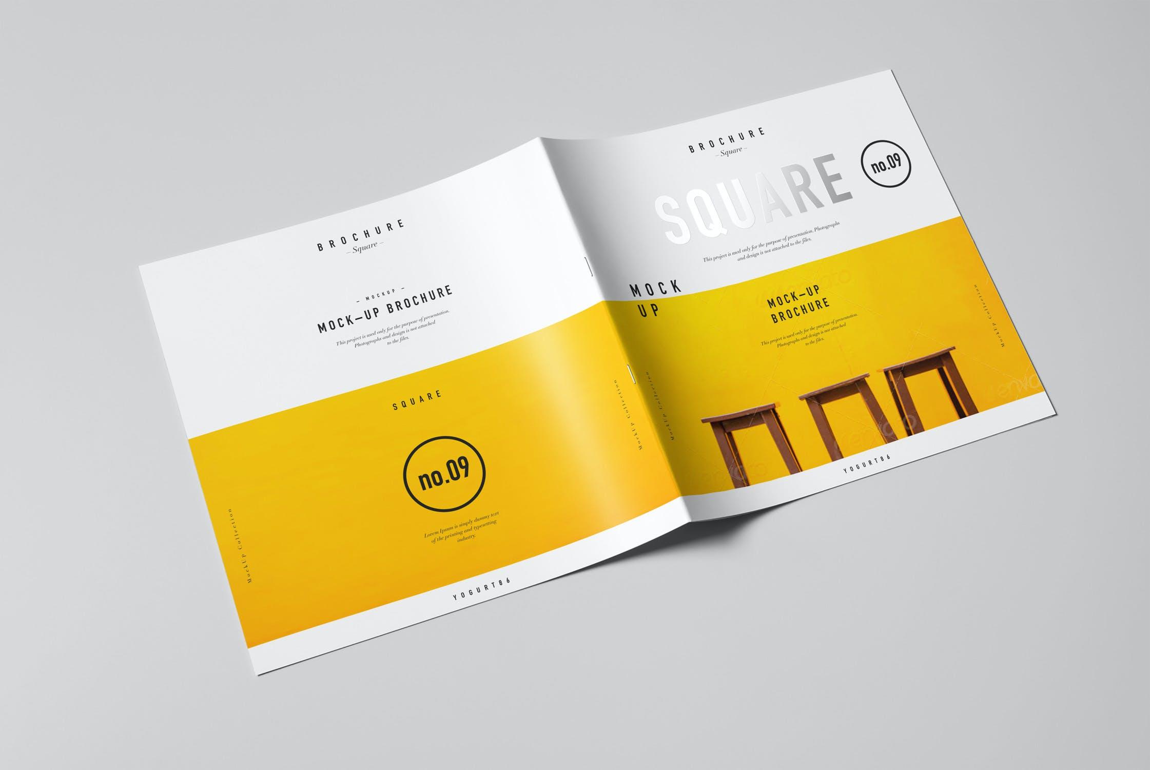 8款方形杂志画册设计展示样机模板 Square Brochure Mockup插图(1)