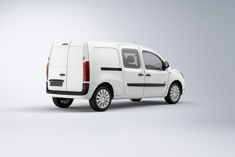10款紧凑型面包车封闭货车车身广告设计展示样机 Compact Van Mockup插图(1)