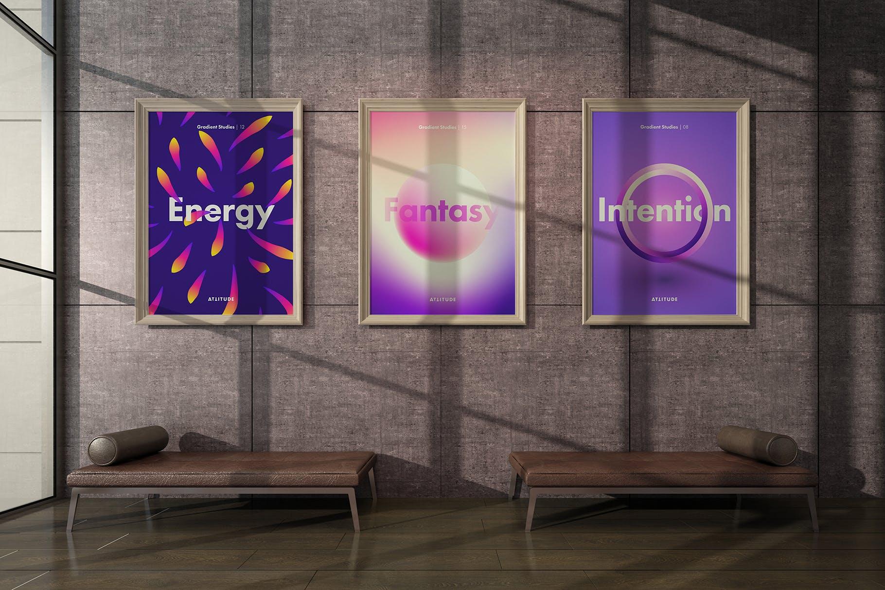 室内走廊相片艺术品海报样机模板 Gallery Mockup 3插图(1)