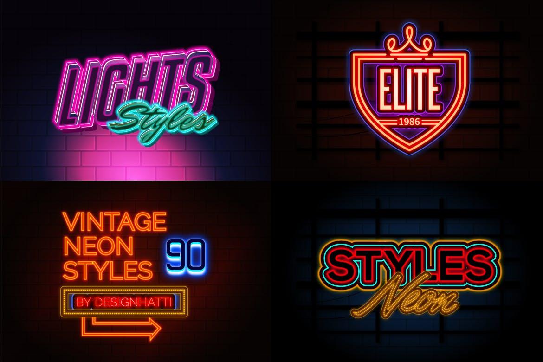 霓虹灯徽标标题文字效果AI样式模板 Neon Text Effects插图(1)