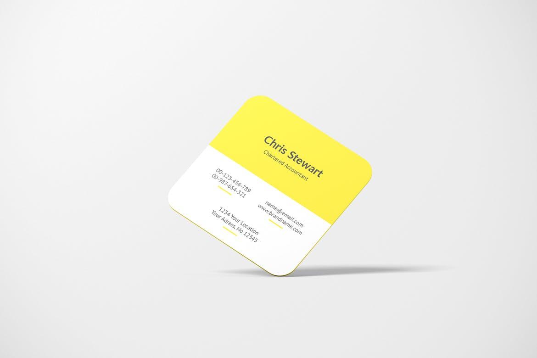 圆角方形商务名片卡片设计智能贴图样机模板 Rounded Square Business Card Mockup插图(1)