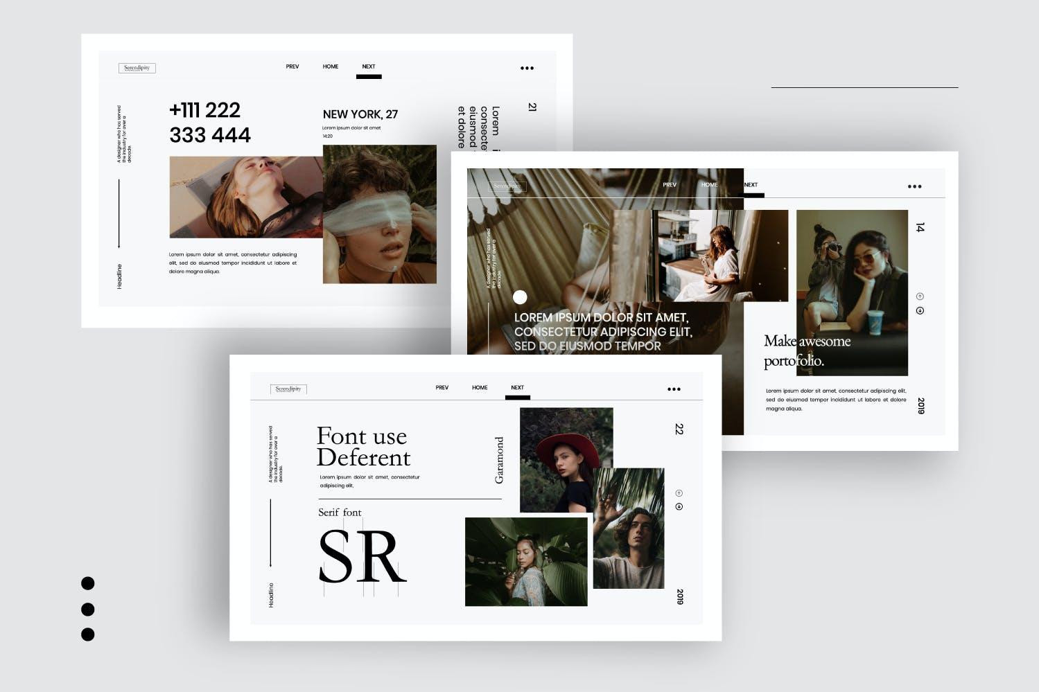 时尚简约服装摄影作品集幻灯片设计模板 Serendipity – Modern Fashion Design Powerpoint插图(1)