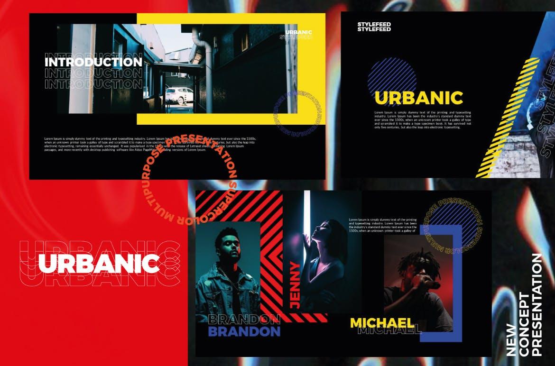 潮流服装摄影作品集PPT幻灯片设计模板 Urbanic Powerpoint Templates插图(1)
